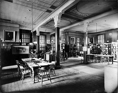 Interior of Old Town Hall 1871, Cary Memorial Library in Lexington, Massachusetts