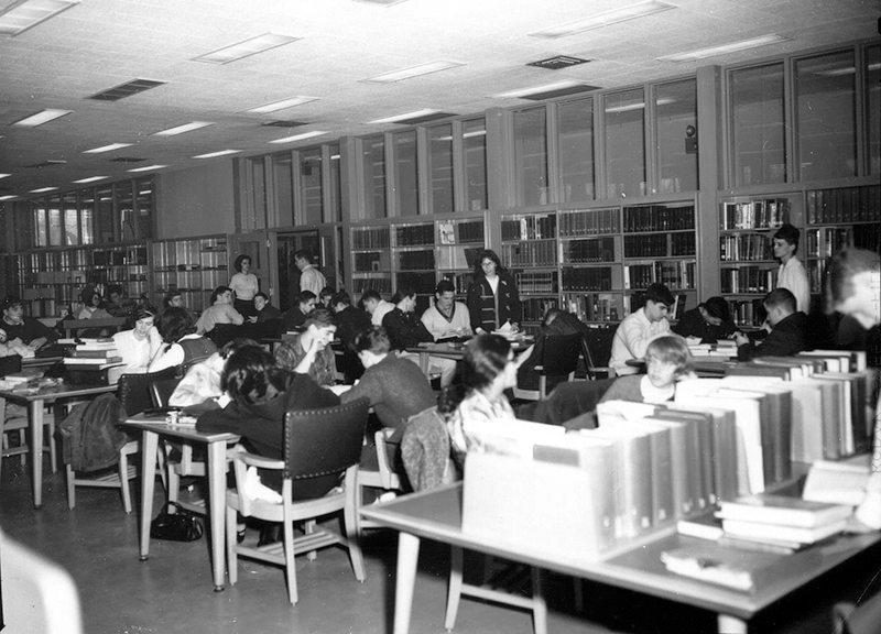 1965 After school at Cary Memorial Library in Lexington, Massachusetts