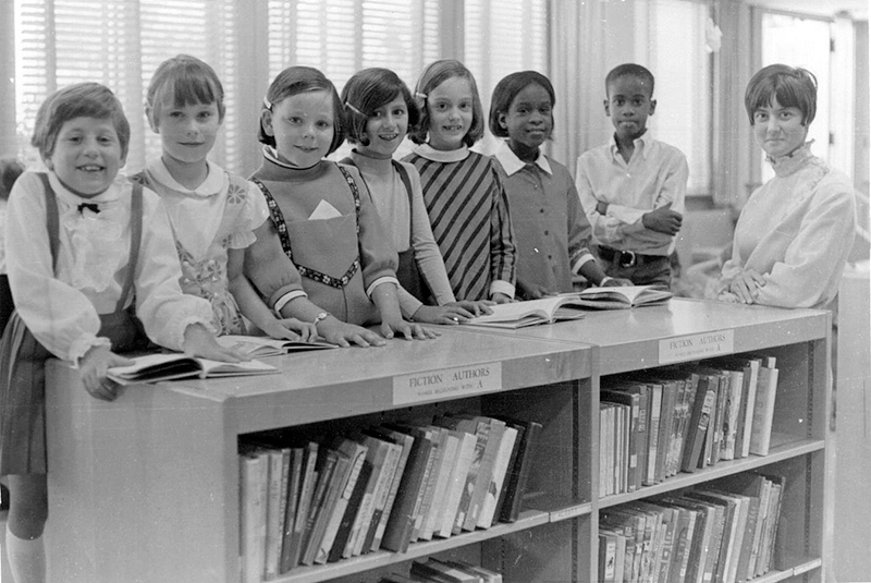 Kids in Library 1968