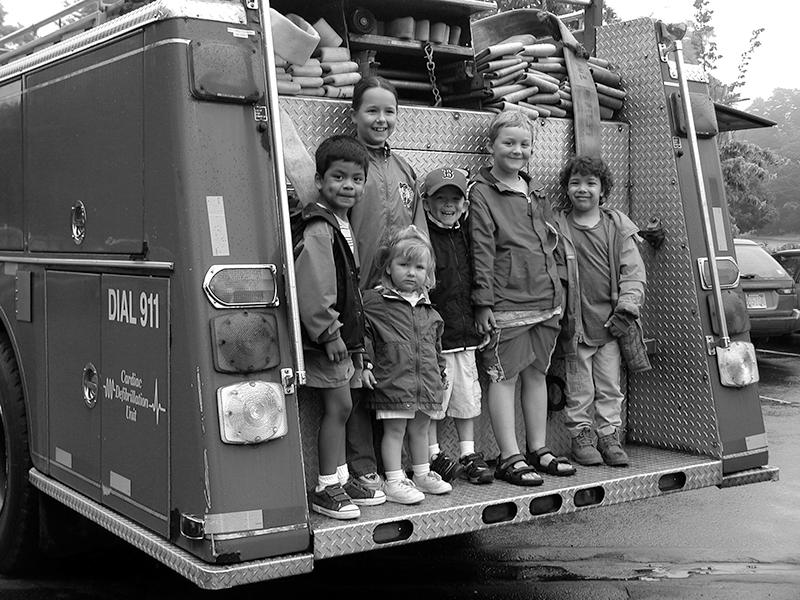 Kids on back of truck