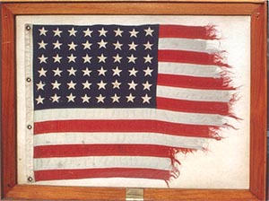 Remnant of a flag that flew over the USS Lexington in WWII