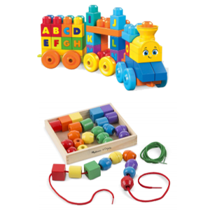 Wooden beads with string and alphabet blocks