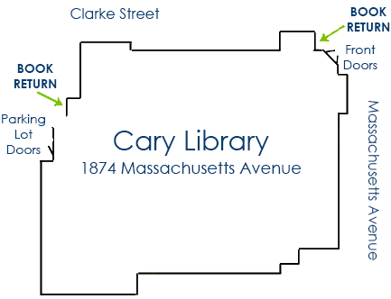 Map showing book drops located in upper right (front door), and mid-left (parking lot doors).