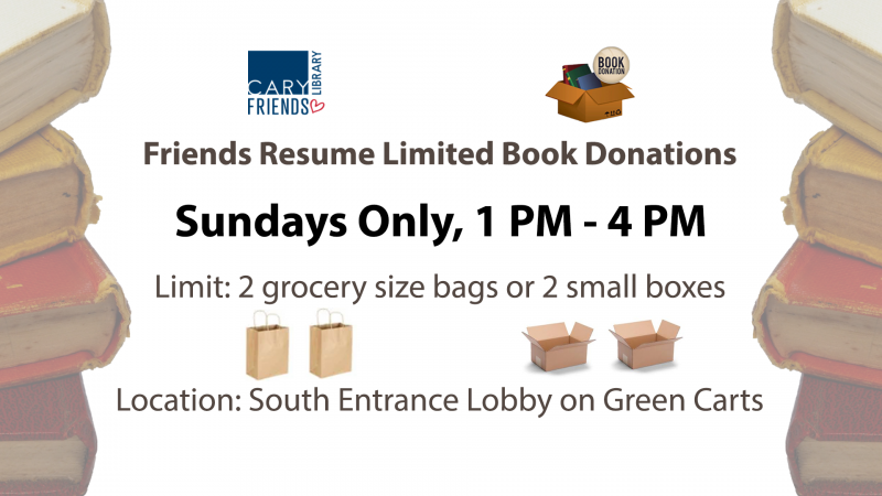 Friends Resume Limited Book Donations. Sundays Only, 1-4 PM. Limit: 2 grocery size bags or 2 small boxes. Location: South Entrance Lobby on green carts