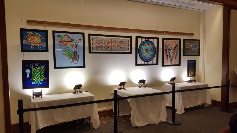 Stained glass art exhibit on Idea Wall