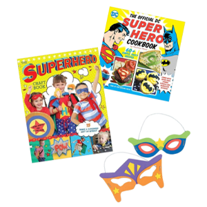 Kit with masks and books for superheroes