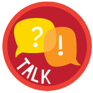 Talk with word bubbles graphic