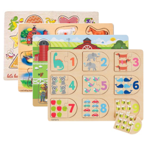 Stack of wooden puzzles